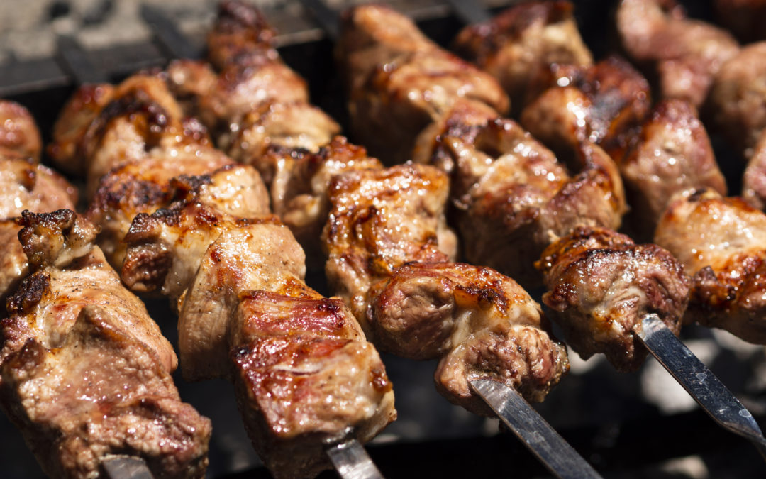 Pork Kebabs with Lime and Nectarine Salsa Dressing